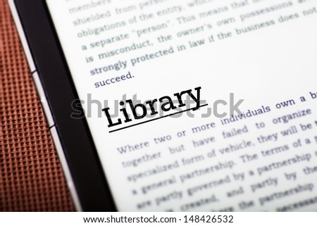 Library on tablet pc screen, ebook concept