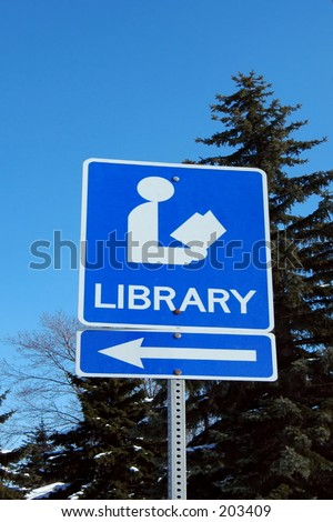 Library sign - stock photo