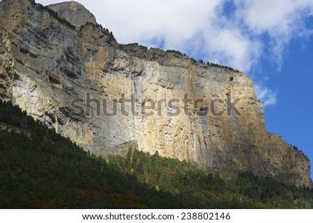 Libro Abierto Wall in the Pyrenees, Ordesa Valley National Park, Aragon, Huesca, Spain. - stock photo