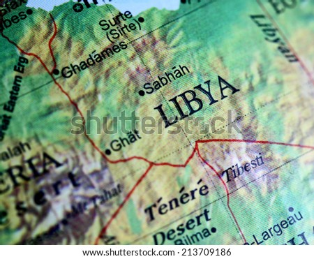 Libya closeup on a world globe. Note shallow depth of field  - stock photo