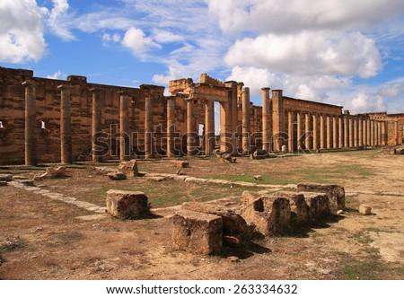 Libya, Cyrene, Ruins of Cyrene. Unesco World Heritage Site. - stock photo