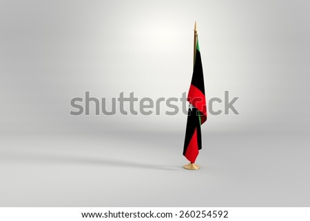 Libya flag on a brown and golden wooden mast 3d illustration - stock photo