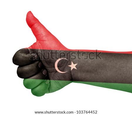 Libya flag on thumb up gesture like icon on white background - stock photo