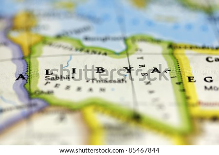 Libya on the map. - stock photo
