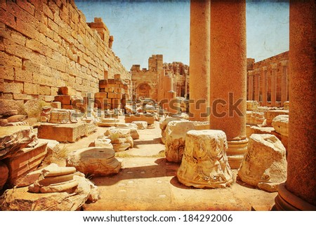Libya Tripoli, Leptis Magna,  Roman City, UNESCO World Heritage Site - stock photo