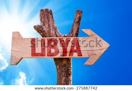 Libya wooden sign with sky background - stock photo