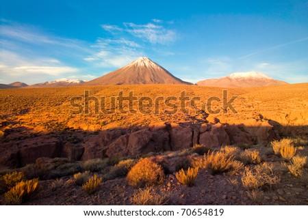 Licancabur Volcano at the Altiplano, San Pedro de Atacama, Atcama Desert, Chile, South America - stock photo