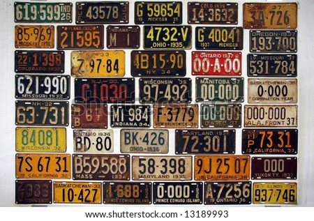 License numbers of old cars in a museum - stock photo