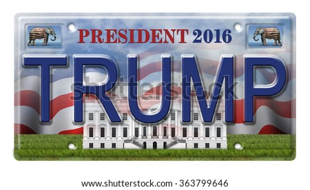 License Plate promoting Donald Trump as a candidate for the presidential election in 2016. Includes a clipping path. - stock photo
