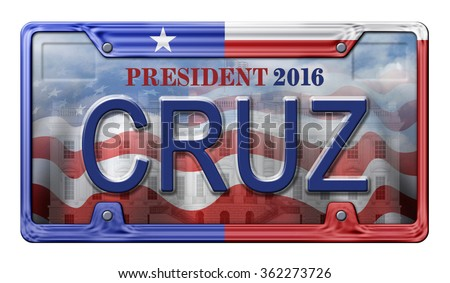 License Plate promoting Ted Cruz as a candidate for the presidential election in 2016. Includes a clipping path. - stock photo