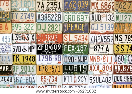License Plates Collage - stock photo