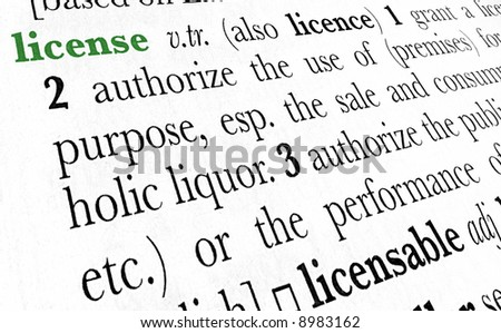 License word dictionary definition in great perspective