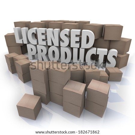 Licensed Products Boxes Official Approved Merchandise Warehouse - stock photo