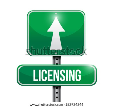 licensing road sign illustration design over a white background - stock photo