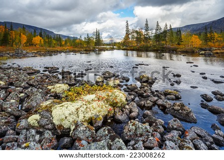 Lichen-covered rocks in the bottom of shallow Polygonal lake in Hibiny mountains above the Arctic Circle - stock photo