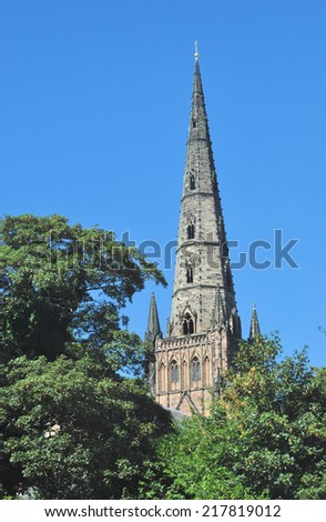 LICHFIELD, UK - SEPTEMBER 7.  With a history from the 7th century the present Gothic Cathedral dates from 1200, with a later restored central spire; September 7, 2014 at Lichfield, Staffordshire, UK.