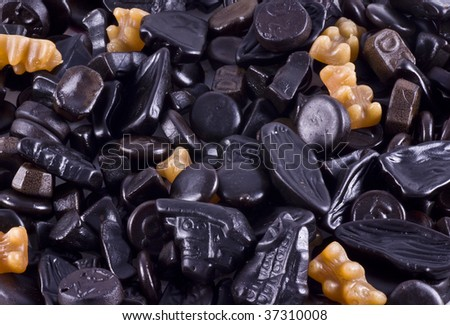 Licorice, a typical dutch kind of candy. - stock photo