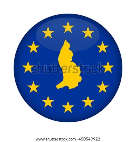 Liechtenstein map on a European Union flag button isolated on a white background. - stock photo