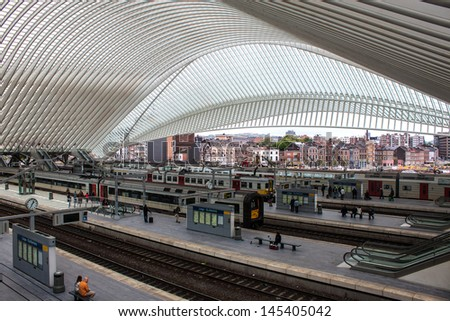 LIEGE, BELGIUM - MAY 13: Futuristic Liege-Guillemins railway station on May 13, 2013 in Belgium. Station is made of steel, glass and white concrete by Spanish architect Santiago Calatrava.