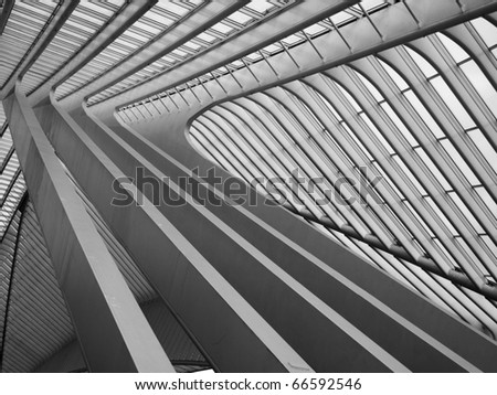 LIEGE, BELGIUM - OCTOBER 26: Futuristic Liege-Guillemins railway station on October, 26, 2010 in Belgium. Station is made of steel, glass and white concrete by Spanish architect Santiago Calatrava.