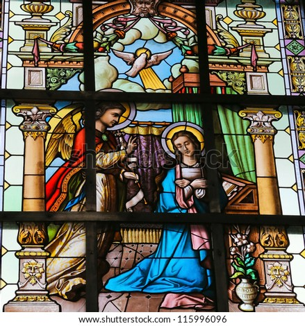 LIER - SEPT 15: Stained glass window depicting the Annunciation, in the church of Lier, Belgium, on September 15, 2012.