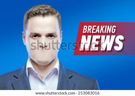 """Lies and hidden problems, television announcer  without a mouth on a background of the inscription """"Breaking News""""  - stock photo"""