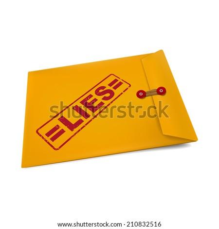 lies stamp on manila envelope isolated on white - stock photo