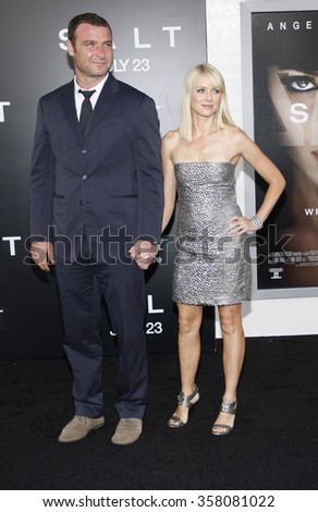 """Liev Schreiber and Naomi Watts at the Los Angeles Premiere of """"Salt"""" held at the Grauman's Chinese Theater in Los Angeles, California, United States on July 19, 2010.  - stock photo"""