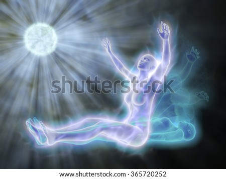 Life after life - the soul leaves the body - stock photo