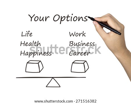 life and career balance drawn by human hand over white background - stock photo