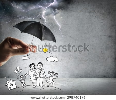 life and family insurance - safety concept  - stock photo