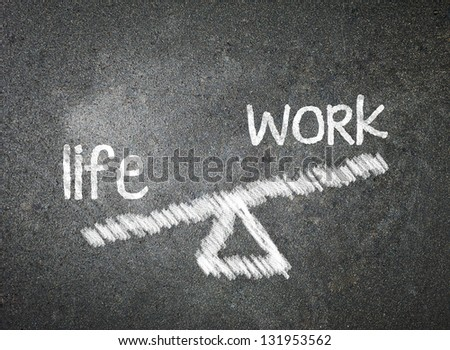 Life and work of your choice written with white chalk on a blackboard - stock photo