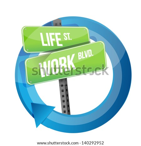 life and work road sign cycle illustration design over white - stock photo