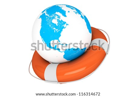 Life Buoy and Earth globe on a white background
