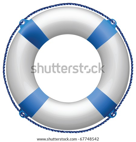 life buoy blue against white background, abstract art illustration; for vector format please visit my gallery - stock photo