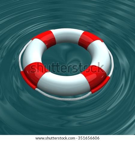 Life buoy.3d render. - stock photo