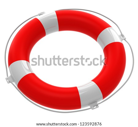 Life buoy isolated on white background