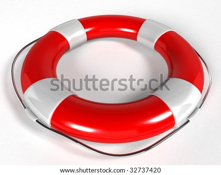 Life buoy isolated over a white background (3d rendering) - stock photo