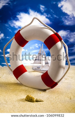 Life buoy on the beach