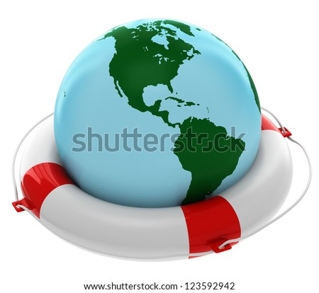 Life buoy with Earth isolated on white background