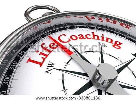 life coaching red word on concept compass, isolated on white background - stock photo