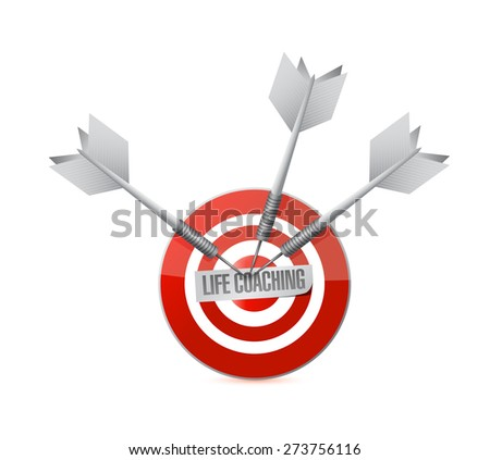 life coaching target sign icon concept illustration design over white - stock photo