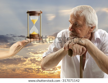 Life concept. Portrait of a senior man thinking about something - stock photo