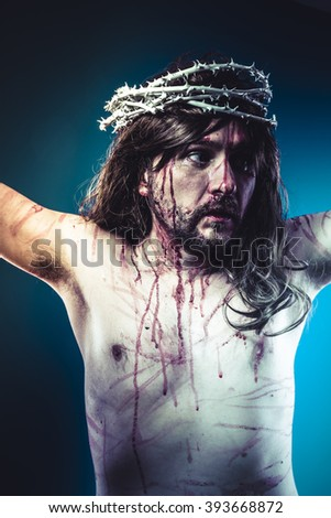 life, Easter jesus christ, son of god representation with crown of thorns and wounds of Calvary skin - stock photo