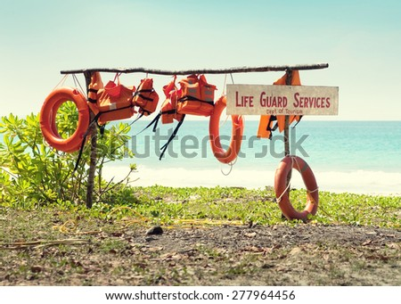 Life guard post on the sea background. - stock photo