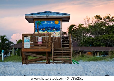 Life Guard Station on Beach - stock photo