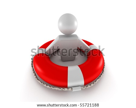 Life insurance. Red lifebuoy with human isolated on white background. High quality 3d render. - stock photo