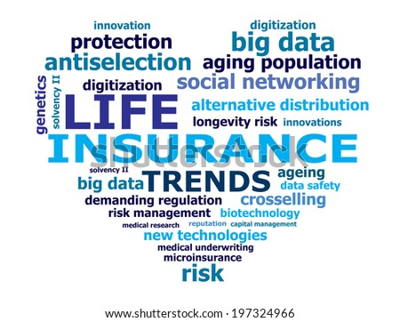 life insurance trend words - stock photo