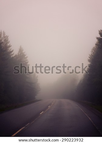 Life is a journey as they say. An image of a very foggy road in autumn. Image has a strong vintage effect. - stock photo