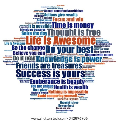 Life is awesome and other positive phrases - stock photo